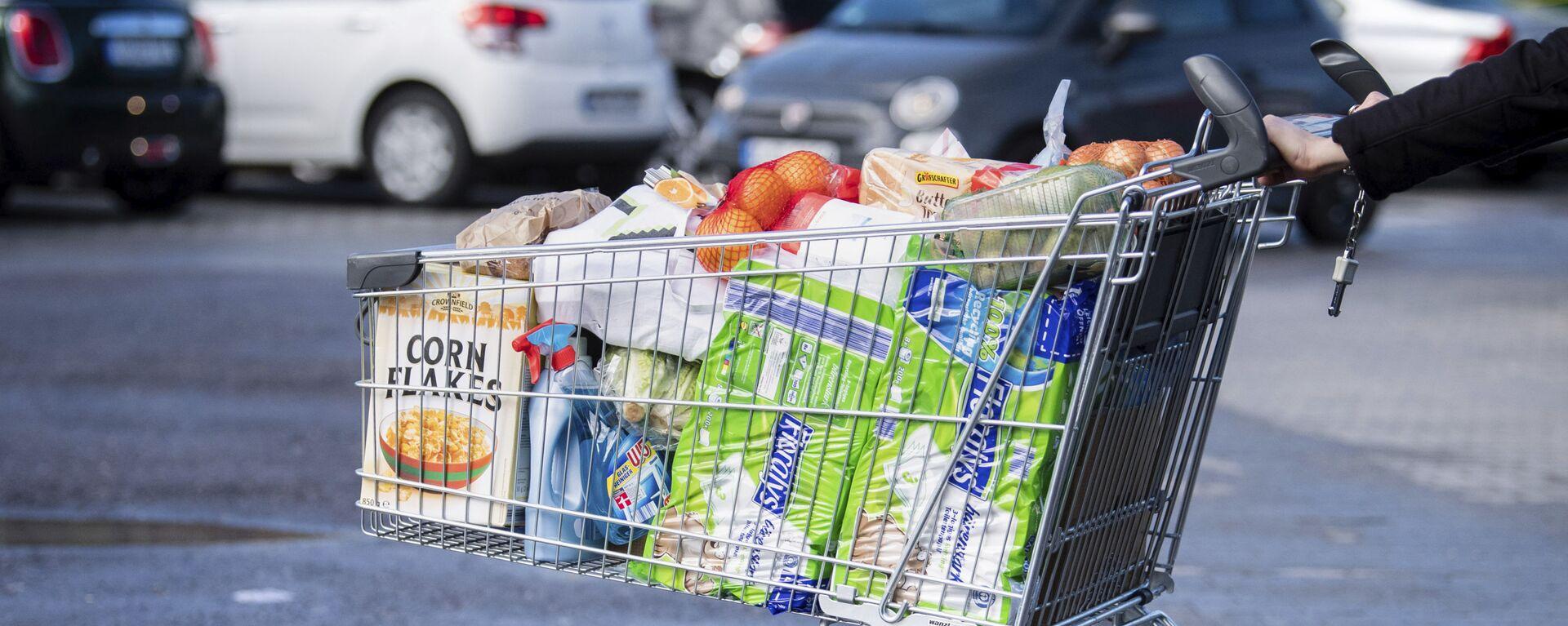 Покупатель с тележкой, наполненной продуктами в супермаркете в Германии - Sputnik Узбекистан, 1920, 24.03.2021