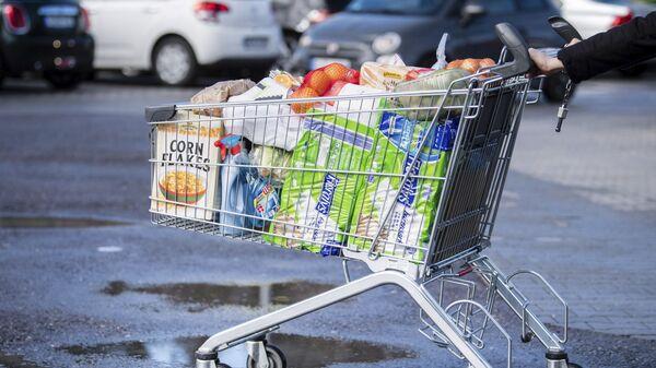 Pokupatel s telejkoy, napolnennoy produktami v supermarkete v Germanii - Sputnik Oʻzbekiston