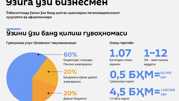 Ўзини ўзи банд қилган шахслар - янги тартиб - Sputnik Ўзбекистон