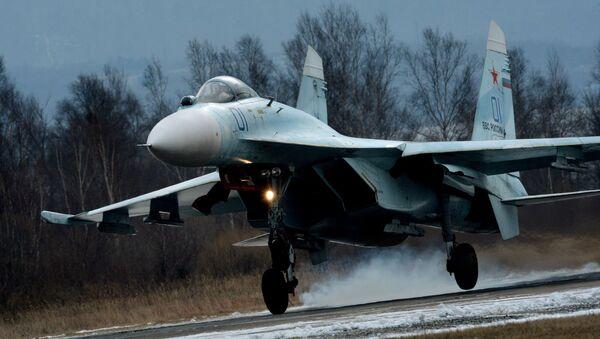 Су-27 қирувчи самолёти қўнмоқда - Sputnik Ўзбекистон
