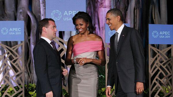 Россия Бош вазири Д.Медведев Барак Обама ва унинг рафиқаси Мишель Обама билан - Sputnik Ўзбекистон