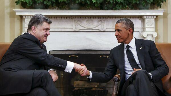 Украина президенти Порошенко ва АҚШ президенти Обама - Sputnik Ўзбекистон