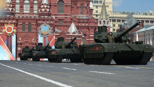 Tanki T-14 na gusenichnoy platforme Armata na generalnoy repetitsii voyennogo parada, posvyaщennogo 71-y godovщine Pobedы - Sputnik Oʻzbekiston