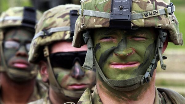 Военнослужащие США во время совместных военных учений на базе Вазиани неподалеку от Тбилиси, Грузия - Sputnik Ўзбекистон