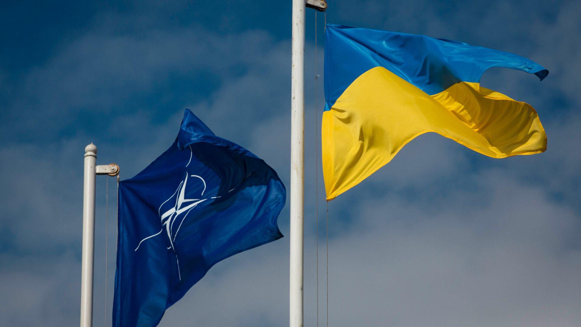 Национальный флаг Украины и флаг Организации Североатлантического договора (НАТО) - Sputnik Ўзбекистон, 1920, 08.04.2021