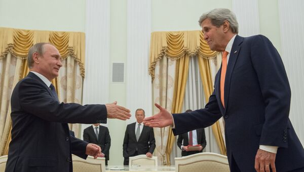 Kremlda Putin, Lavrov va Kerri uchrashuvi - Sputnik Oʻzbekiston