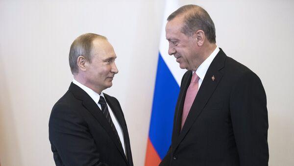 Rossiya va Turkiya prezidentlari V. Putin va R. Erdoʻgʻonning Sankt-Peterburgda oʻtkazilgan uchrashuvidan surat - Sputnik Oʻzbekiston