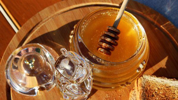 Свежий мед на столе готов к дегустации пчеловодами. - Sputnik Ўзбекистон