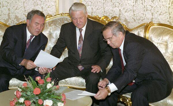 Yeltsin, Nazarboyev va Karimov - Sputnik Oʻzbekiston