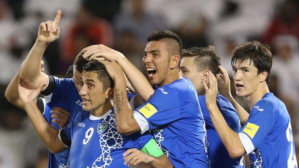 Футболисты сборной Узбекистана после забитого гола в ворота Катара - Sputnik Узбекистан
