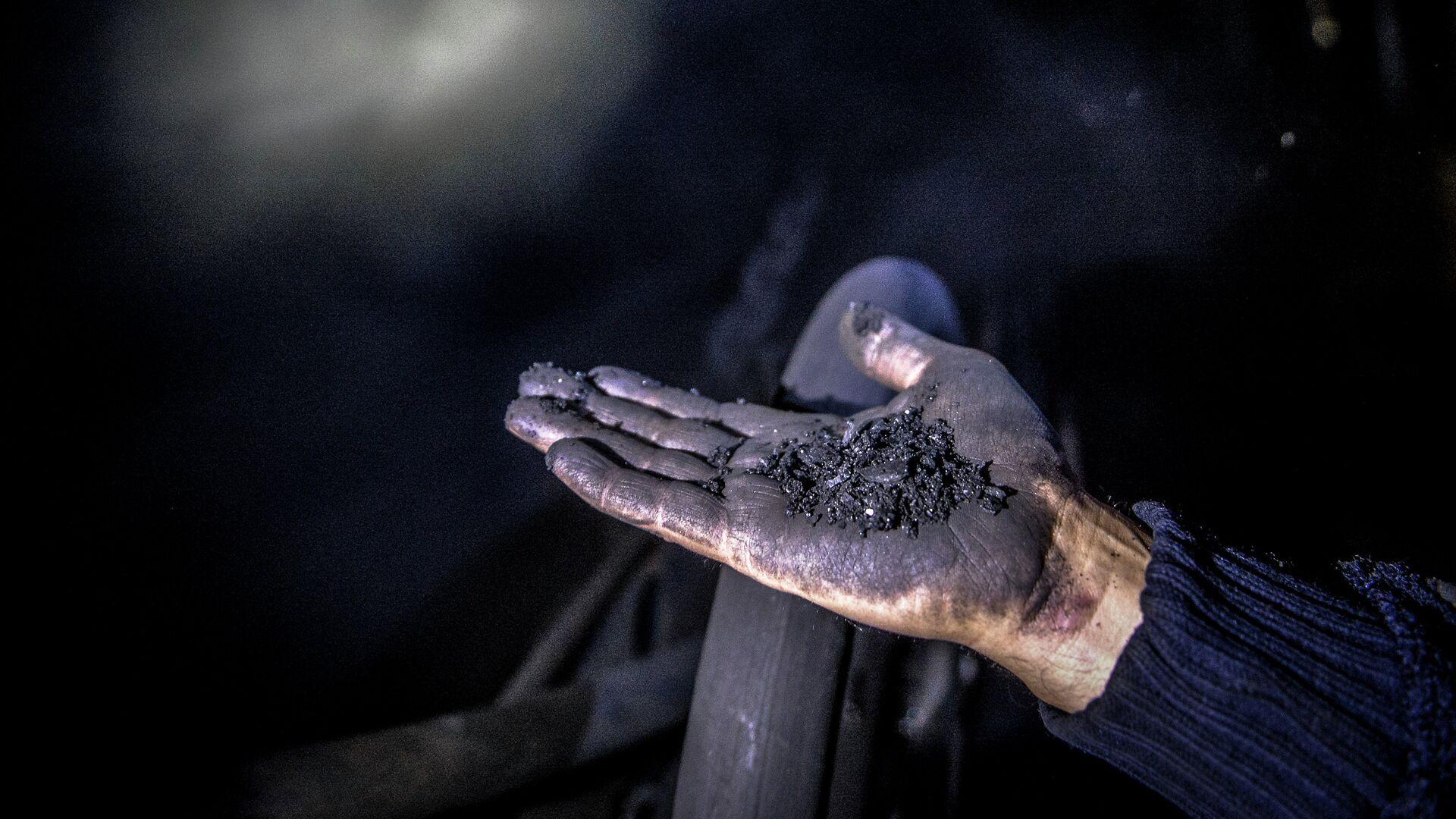 Шахтер показывает уголь. Архивное фото - Sputnik Ўзбекистон, 1920, 28.09.2021