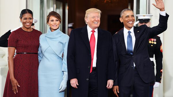 Mishel Obama, Melanya Tramp, Donald Tramp va Barak Obama Vashingtondagi Oq uyda - Sputnik Oʻzbekiston