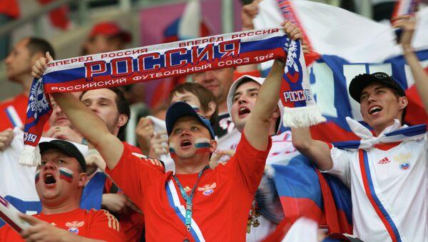 Российские болельщики на стадионе Мейски - Sputnik Узбекистан