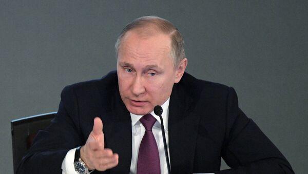 Президент РФ В. Путин принял участие в расширенном заседании коллегии МВД России - Sputnik Узбекистан