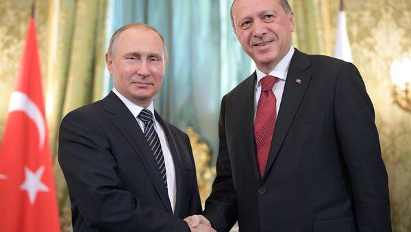 Rossiya prezidenti Vladimir Putin va Turkiya prezidenti Toyib Erdoʻgʻon - Sputnik Oʻzbekiston