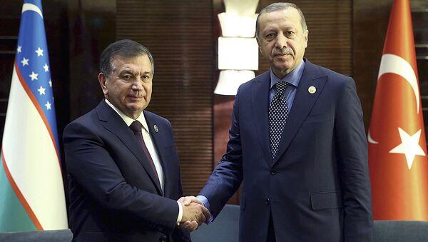 Prezident Turtsii Redjep Tayip Erdogan (sprava) i prezident Uzbekistana Shavkat Mirziyoyev - Sputnik Oʻzbekiston