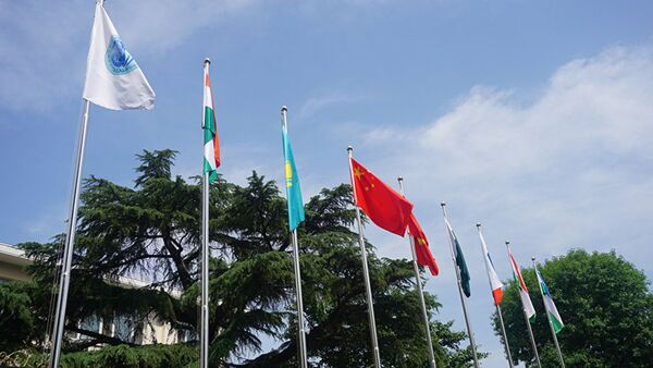Торжественная церемония поднятия государственных флагов двух новых государств-членов Организации - Республики Индии и Исламской Республики Пакистан - Sputnik Ўзбекистон