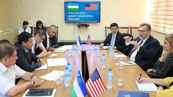Встреча представителей Министерства занятости и трудовых отношений республики Узбекистан с делегацией Комитета Сената США по международным отношениям - Sputnik Ўзбекистон