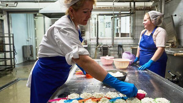 Производство сыра на заводе - Sputnik Узбекистан