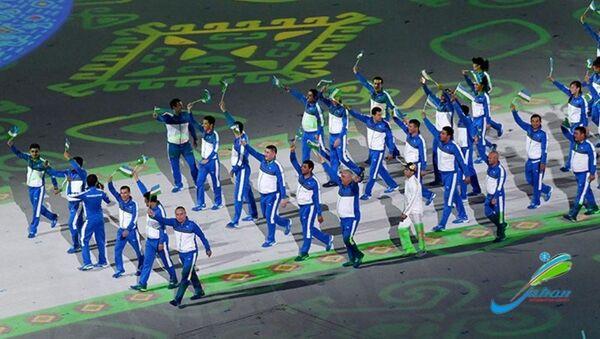 Сборная Узбекистана на церемонии открытия V Азиатских игр в закрытых помещениях и по боевым искусствам - Sputnik Ўзбекистон