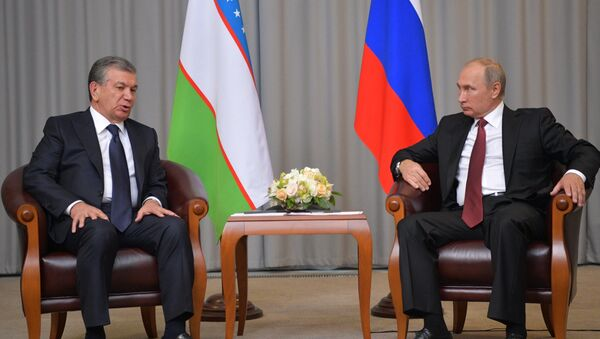 Президент РФ Владимир Путин и президент Узбекистана Шавкат Мирзиеев (слева) во время встречи - Sputnik Ўзбекистон