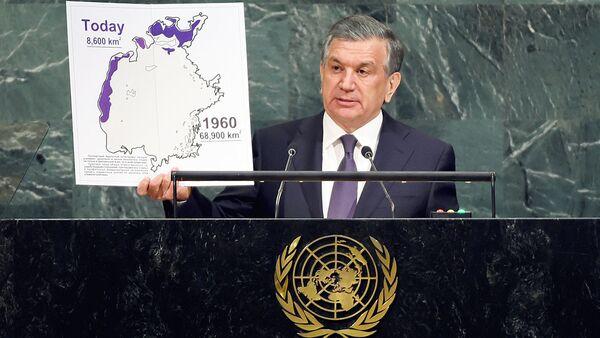 Prezident Uzbekistana Shavkat Mirziyoyev vыstupayet na 72-y sessii Generalnoy Assamblei OON v shtab-kvartire OON v Nyu-Yorke - Sputnik Oʻzbekiston
