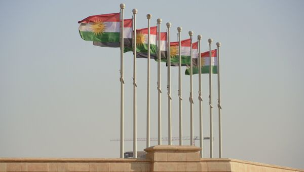 Флаги Иракского Курдистана в аэропорту Эрбиля. - Sputnik Узбекистан