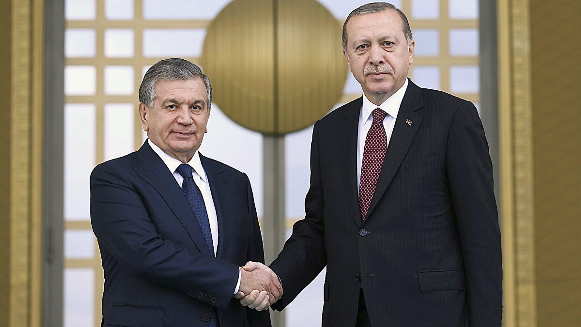Президент Узбекистана Шавкат Мирзиёев и президент Турции Реджеп Тайип Эрдоган в Анкаре - Sputnik Узбекистан, 1920, 03.09.2021