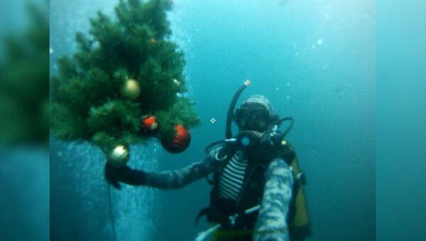 Дайверы погрузили новогоднюю елку под воду Голубого озера - Sputnik Ўзбекистон