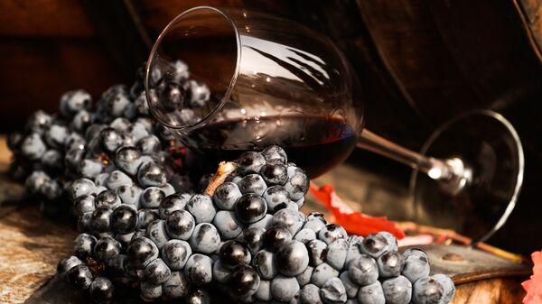 Виноградная лоза и вино в бокале на винодельческом предприятии Массандра в Крыму. - Sputnik Ўзбекистон