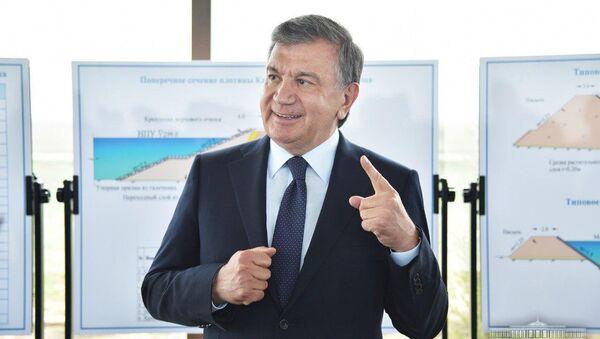 Президент Узбекистана Шавкат Мирзиёев во время визита в Джизакскую область - Sputnik Узбекистан