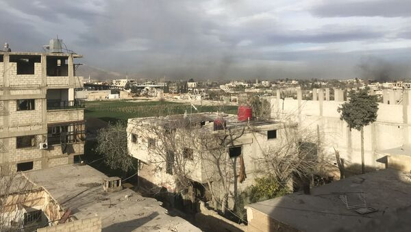 Дым, возникший в результате ударов сирийской армии по позициям Джебхат ан-Нусра (организация запрещена в РФ), в Восточной Гуте в пригороде Дамаска - Sputnik Узбекистан