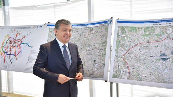 Президент осмотрел строительство развязки в Ташкенте - Sputnik Ўзбекистон