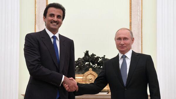 Президент РФ В. Путин встретился с эмиром Катара Т. бен Хамадом Аль Тани - Sputnik Узбекистан