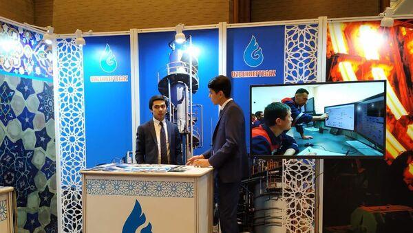 Стенд компании Узбекнефтегаз на узбекско-индийском бизнес-форуме в Дели - Sputnik Ўзбекистон