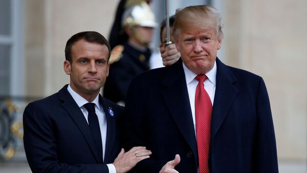 Prezidentы Frantsii i SSHA Emmanuel Makron i Donald Tramp Tramp v Parije, Frantsiya - Sputnik Oʻzbekiston